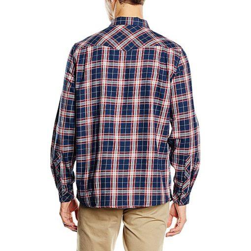 Vaude Blue/Red Algund Long Sleeve Shirt For Men